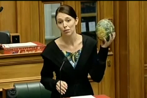 Still from Parliament TV of Labour Party MP Jacinda Ardern making a point with a pumpkin.