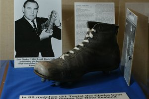 Don Clark's boot, on display at the New Zealand Rugby Museum in Palmerston North. Photo / Mark Mitchell