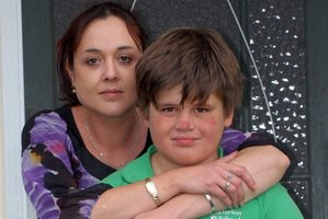 Carterton mother-of-three Sharlee Hume and son Raybane, 11, who is recovering after trying to strangle himself at school. Photo / APN