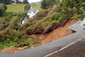 Blanket Bay Rd was first hit by a landslip on Thursday.