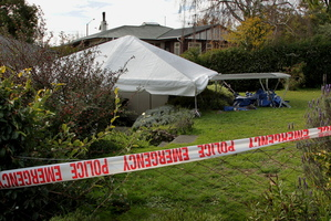 The backyard in Havelock North where Gail Bower was stabbed. Photo / Warren Buckland