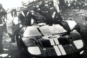 In 1966 New Zealanders Bruce McLaren and Chris Amon (right) celebrated victory at Le Mans. Picture / Herald Archive