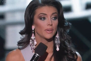 Miss Utah Marissa Powell stumbles during a question during the Miss USA pageant. Photo / YouTube
