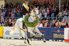 Andrew Nicholson celebrates winning the Luhmuhlen CCI4 in Germany. Libby Law/ESNZ