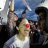 A demonstrator shouts at police during a protests in front of the Brazilian National Congress in Brasilia, Brazil. Photo / AP