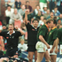 11. v South Africa, Pretoria, 1996. Justin Marshall and Zinzan Brooke celebrate as the All Blacks' clinch their first ever series win over old rivals South Africa. Photo / Paul Estcourt.