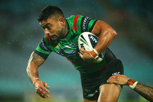 Nathan Merritt of the Rabbitohs heads for the try line. Photo / Getty Images