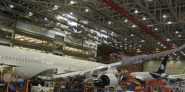 Air New Zealand's first Boeing 787 - the -9 variant, under construction at the Boeing factory near Seattle, Washington. Photo / Grant Bradley