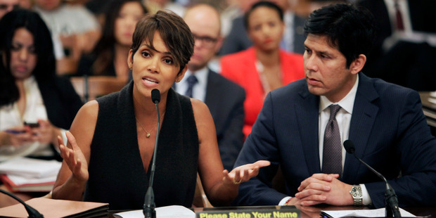 Actress Halle Berry testifies before the Assembly Committee on Public Safety for a bill that would limit the ability of paparazzi to photograph children of celebrities. Photo / AP