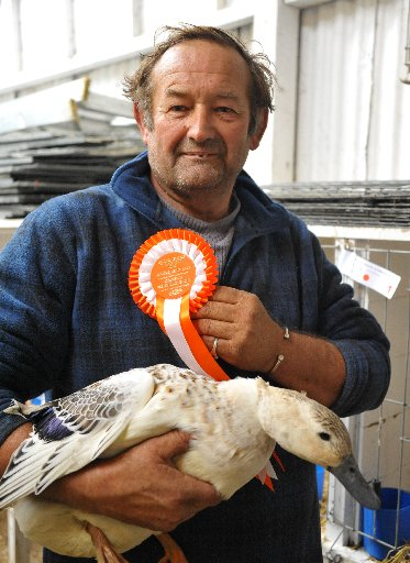Poultry Show, Solway Showgrounds, Saturday, breeder Melvyn Pike of Carterton with his Champion Welsh Harlequin duck