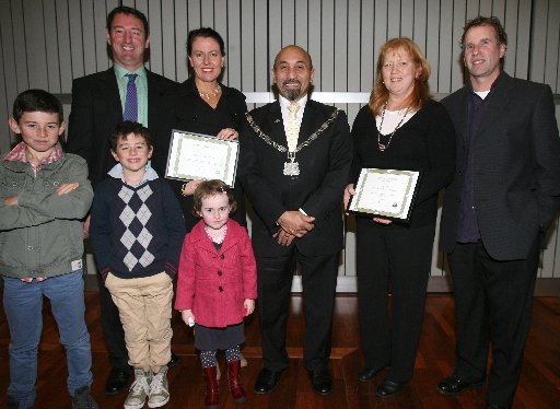 Charles Rooking Cater Awards, Carterton Events Centre, Wednesday 26 June 2013. Recipients of the Ballance Farm Environment Awards Michael and Karen Williams and their children Tom, 10, Ollie, 8, and India, 4, with Mayor Ron Mark and Pip and Wayne Della B