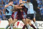 Following the two unprovoked punches thrown by Blues' captain Paul Gallen in Origin I, administrators have decreed that punches in Origin II will draw an automatic yellow card. Photo / Getty Images.