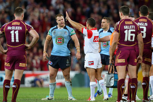 Trent Merrin of the Blues is sin binned for fighting during game two of the ARL State of Origin series between the Queensland Maroons and the New South Wales Blues. Photo / Getty Images.