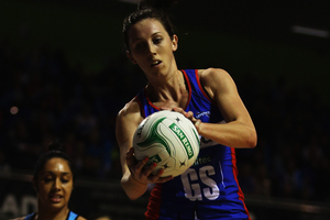 Northern Mystics shooter Bailey Mes is facing a long stretch on the sidelines after sustaining a serious knee injury in her side's final outing on Monday. Photo / Getty Images.