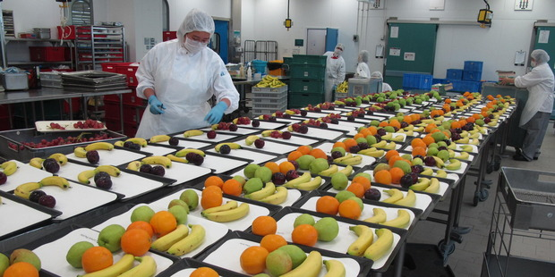 Fruit preparation at Cathay Pacific Catering Services in Hong Kong. Photo / Shandelle Battersby
