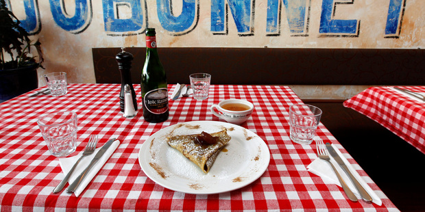 Crepes with Calvados as served at Le Garde Manger in Kingsland. Photo / Chris Gorman