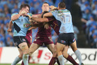 Paul Gallen lashes out at Nate Myles during the first State of Origin match this month. Photo / Getty Images
