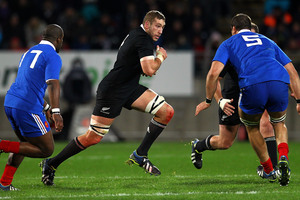 Luke Romano of the All Blacks makes a run during the Third Test Match between the New Zealand All Blacks and France. Photo / Getty Images