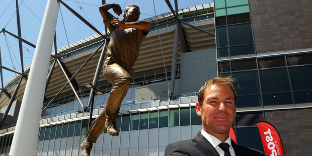 Shane Warne attends the unveiling of his statue at the MCG. Photo / Getty Images