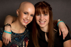 Kelly Porima, 15, stays bald most days, while twin Leah prefers to wear a wig. Photo / Alan Gibson