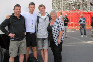 Double New Zealand representatives Michael and Simon (centre) with proud parents Cliff and Shona Arms.