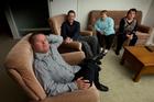 Travers Brown (left) at home with his flatmates Richard Bisley, Daina MacRae and Susan Godsall. Photo / Brett Phibbs