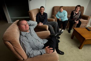 Travers Brown (left) at home with his flatmates Richard Bisley, Daina MacRae and Susan Godsall. Photo / Brett Phibbs