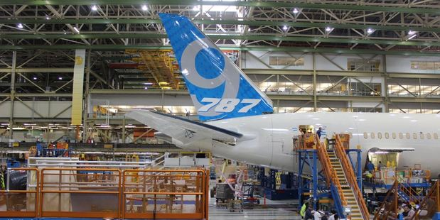 The Boeing 787-9 Dreamliner is nearing final assembly for Air New Zealand at the planemaker's huge plant in Seattle. Photo / Grant Bradley