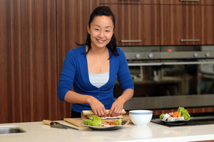 Sachie Nomura ensures those attending her Parnell sushi-making classes have a fun, relaxed time. Photo / Doug Sherring