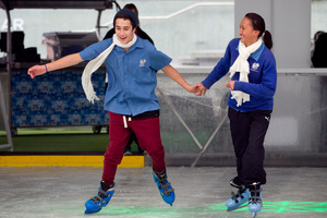 James Ratima and Shontay Morunga from Maungaturoto were among the first on the ice. Photo / Natalie Slade