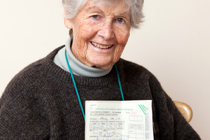 Beth Okeby, 87, kept her husband's cancelled air ticket. Photo / Abby Dance