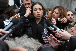 Moroccan-born erotic dancer Karima El Mahroug arrives at court. Photo / AP