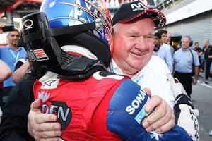 Sir Colin Giltrap congratulates Mitch Evans after a GP3 win. Photo / GP3