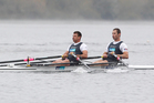 Michael Arms and Robbie Manson power their way to victory in the double sculls. Photo / Getty Images