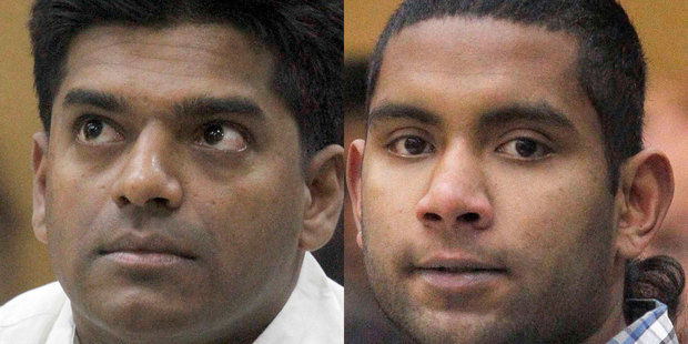 Viraj Alahakoon (left) and Thuvan Prawesh Sawal in the Christchurch District Court today. Photo / pool photo
