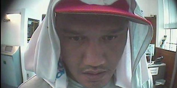 This man attempted to use a card taken during an attack in Westmere on Thursday at a nearby money machine. Photo / NZ Police