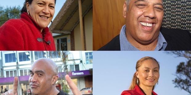 Clockwise from top left: Meka Whaitiri (Labour Party), Na Raihania (Maori Party), Marama Davidson (Green Party), Te Hamua Nikora (Mana Party)