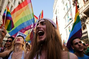 Gay and human rights activists march during anti-government protests on Istiklal Street, the main shopping corridor in Istanbul. Photo / AFP