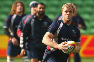 Jarrod Saffy of the Rebels looks to pass the ball during a Melbourne Rebels Super Rugby captain's run. Photo / Getty Images