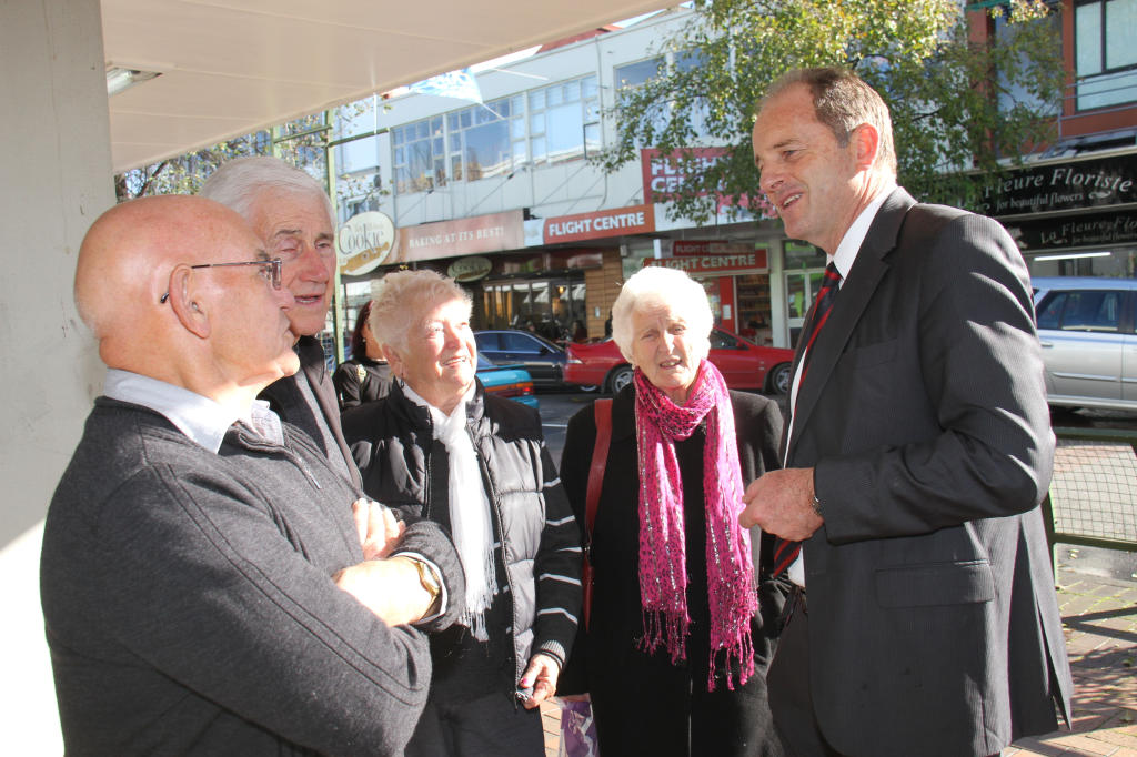 wta200613abshearer.jpg 20.06.13 Labour leader David Shearer chats to locals and visitors on Masterton's Queen St while on the campaign trail to support Meka Whaitiri, Labour's candidate in the Ikaroa-Rawhiti byelection. From left, John Rayner, Auckland; F