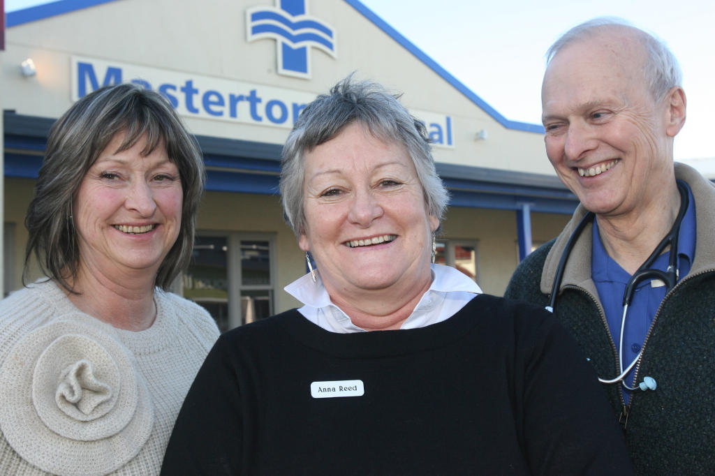 wta250613lfanna.jpg Wairarapa's only nurse practitioner Anna Reed, centre, with Helen Kjestrup, left, and Dr Nick Crozier at Masterton Medical Centre.