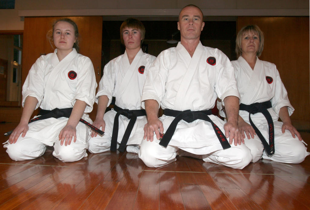 wta260613lfriley01.jpg Masterton family of black belts Steve and Sharon Riley and their teenage children Luke, 17, and Sarah, 15, at their Okinawa Goju Ryu dojo in Te Ore Ore Rd.