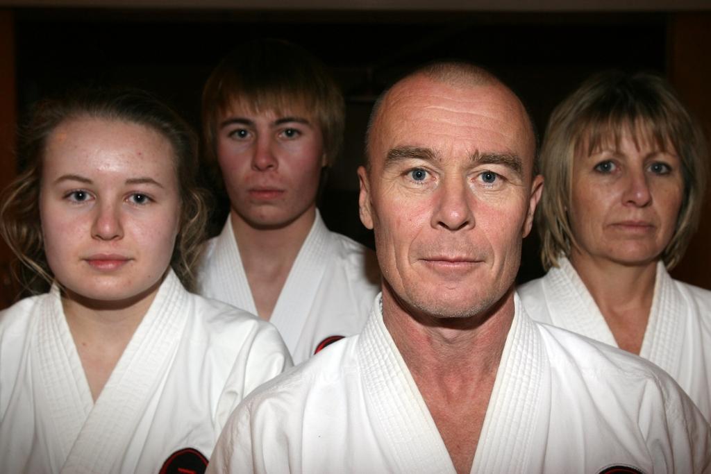 Masterton family of Okinawan Goju Ryu Karate black belts Steve and Sharron Riley and their teenage children Luke, 17, and Sarah, 15.