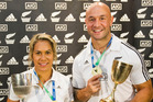 New Zealand Rugby 7's Captains Huriana Manuel and DJ Forbes hold the World Cups from that there respective teams. Photo / Greg Bowker