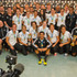 New Zealand Rugby 7's mens and womens teams pose for a photograph at Auckland International Airport after arriving home from the World Cup Event held in Moscow. Photo / Greg Bowker