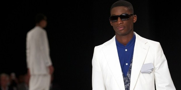 A Spencer Hart creation from the Spring/Summer 2014 London Collections. Photo / AFP
