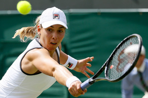 Marina Erakovic in action during her match against Laura Robson. Photo / AP