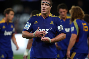 Brad Thorne will captain the Highlanders against the Hurricanes on Saturday night. Photo / Getty Images.