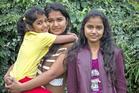 Fernando sisters Ruwani (left), 8, Nipuni, 16, and Sachini, 13. Photo / Michael Craig