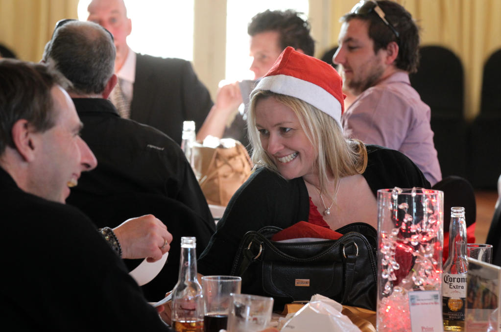 Angela O'Connor donned a Santa hat to get into the swing of the Mid-winter Christmas theme.